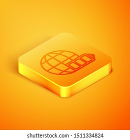 Isometric line Battery charge level indicator with earth globe icon isolated on orange background. World or Earth sign. Orange square button. Vector Illustration