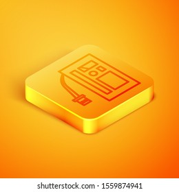 Isometric line Battery icon isolated on orange background. Accumulator battery energy power and electricity accumulator battery. Orange square button. Vector Illustration