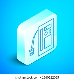 Isometric line Battery icon isolated on blue background. Accumulator battery energy power and electricity accumulator battery. Silver square button. Vector Illustration