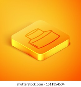 Isometric line Beekeeper with protect hat icon isolated on orange background. Special protective uniform. Orange square button. Vector Illustration