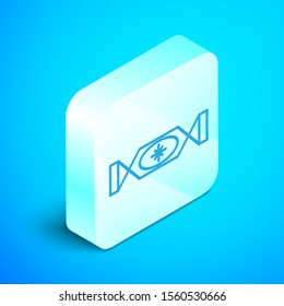 Isometric line Candy icon isolated on blue background. Merry Christmas and Happy New Year. Silver square button. Vector Illustration