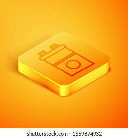 Isometric line Car battery icon isolated on orange background. Accumulator battery energy power and electricity accumulator battery. Orange square button. Vector Illustration