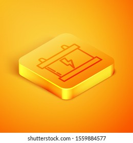 Isometric line Car battery icon isolated on orange background. Accumulator battery energy power and electricity accumulator battery. Lightning bolt. Orange square button. Vector Illustration