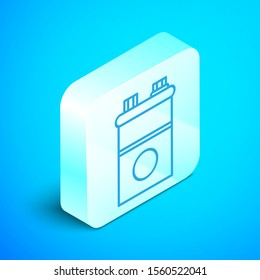 Isometric line Car battery icon isolated on blue background. Accumulator battery energy power and electricity accumulator battery. Silver square button. Vector Illustration