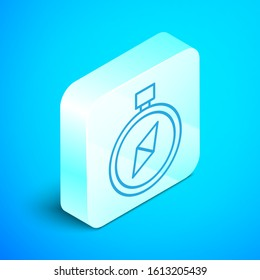 Isometric line Compass icon isolated on blue background. Windrose navigation symbol. Wind rose sign. Silver square button. Vector Illustration