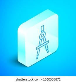 Isometric line Drawing compass icon isolated on blue background. Compasses sign. Drawing and educational tools. Geometric instrument. Silver square button. Vector Illustration