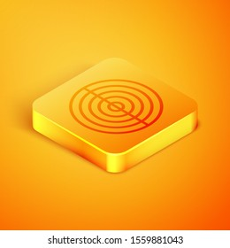 Isometric line Earth structure icon isolated on orange background. Geophysics concept with earth core and section layers earth. Orange square button. Vector Illustration