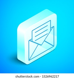 Isometric line Envelope with invitation card icon isolated on blue background. Silver square button. Vector Illustration