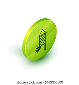 Isometric line Firework rocket icon isolated on white background. Concept of fun party. Explosive pyrotechnic symbol. Green circle button. Vector Illustration