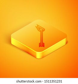 Isometric line Flame arrow icon isolated on orange background. Hipster arrow icon. Orange square button. Vector Illustration