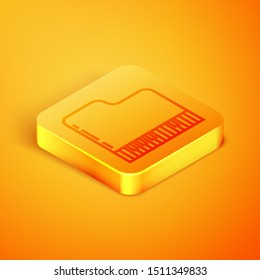 Isometric line Grand piano icon isolated on orange background. Musical instrument. Orange square button. Vector Illustration