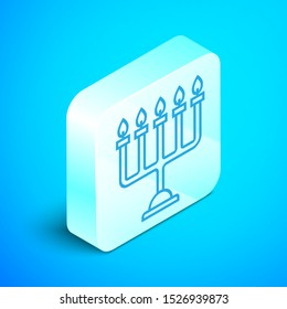 Isometric line Hanukkah menorah icon isolated on blue background. Hanukkah traditional symbol. Holiday religion, jewish festival of Lights. Silver square button. Vector Illustration