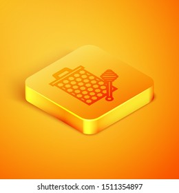 Isometric line Honeycomb with honey dipper stickicon isolated on orange background. Honey ladle. Honey cells symbol. Sweet natural food. Orange square button. Vector Illustration