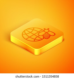 Isometric line Honeycomb map of the world and bee icon isolated on orange background. World bee day. Concept ecological event. Orange square button. Vector Illustration