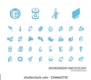 Isometrisches Zeilensymbol-Set. 3D Vektorgrafik mit bunten Symbolen aus der Ökologie. Öko-, Bio-, Umwelt-, Windenergie, recyceltes farbiges Piktogramm einzeln auf Weiß