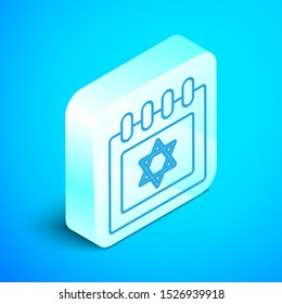 Isometric line Jewish calendar with star of david icon isolated on blue background. Hanukkah calendar day. Silver square button. Vector Illustration