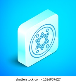 Isometric line Jewish coin icon isolated on blue background. Currency symbol. Silver square button. Vector Illustration