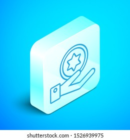 Isometric line Jewish coin on hand icon isolated on blue background. Currency symbol. Silver square button. Vector Illustration
