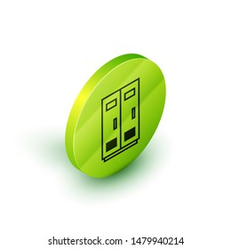 Isometric line Locker or changing room for football, basketball team or workers icon isolated on white background. Green circle button. Vector Illustration