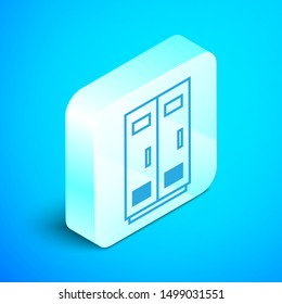 Isometric line Locker or changing room for football, basketball team or workers icon isolated on blue background. Silver square button. Vector Illustration