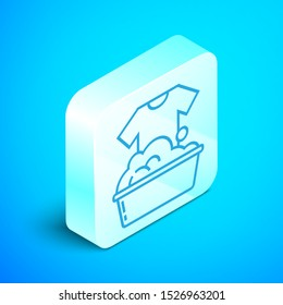 Isometric line Plastic basin with soap suds icon isolated on blue background. Bowl with water. Washing clothes, cleaning equipment. Silver square button. Vector Illustration
