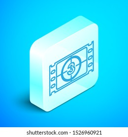 Isometric line Play Video icon isolated on blue background. Film strip with start sign. Silver square button. Vector Illustration