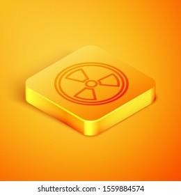 Isometric line Radioactive icon isolated on orange background. Radioactive toxic symbol. Radiation Hazard sign. Orange square button. Vector Illustration