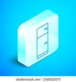 Isometric line Refrigerator icon isolated on blue background. Fridge freezer refrigerator. Household tech and appliances. Silver square button. Vector Illustration