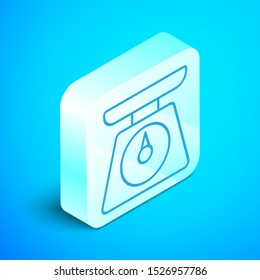 Isometric line Scales icon isolated on blue background. Weight measure equipment. Silver square button. Vector Illustration