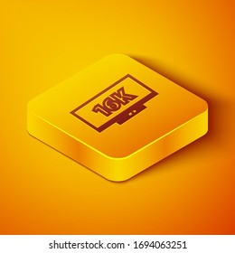 Isometric line Screen tv with 16k Ultra HD video technology icon isolated on orange background. Yellow square button. Vector Illustration