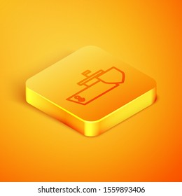 Isometric line Ship with shield icon isolated on orange background. Insurance concept. Security, safety, protection, protect concept. Orange square button. Vector Illustration