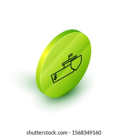 Isometric line Ship with shield icon isolated on white background. Insurance concept. Security, safety, protection, protect concept. Green circle button. Vector Illustration