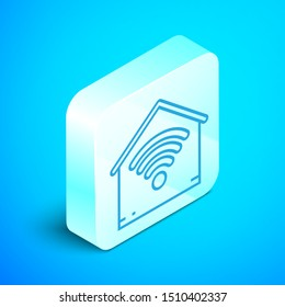 Isometric line Smart home with wi-fi icon isolated on blue background. Remote control. Silver square button. Vector Illustration