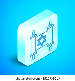 Isometric line Torah scroll icon isolated on blue background. Jewish Torah in expanded form. Star of David symbol. Old parchment scroll. Silver square button. Vector Illustration
