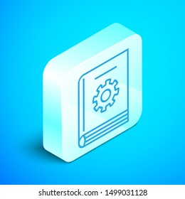 Isometric line User manual icon isolated on blue background. User guide book. Instruction sign. Read before use. Silver square button. Vector Illustration
