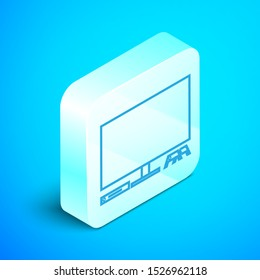 Isometric line Video game console icon isolated on blue background. Game console with joystick and lcd television. Silver square button. Vector Illustration