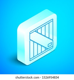 Isometric line Wooden box icon isolated on blue background. Silver square button. Vector Illustration