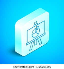 Isometric line XYZ Coordinate system icon isolated on blue background. XYZ axis for graph statistics display. Silver square button. Vector Illustration