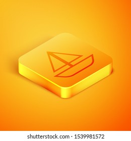 Isometric line Yacht sailboat or sailing ship icon isolated on orange background. Sail boat marine cruise travel. Orange square button. Vector Illustration