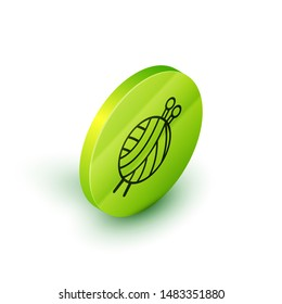 Isometric line Yarn ball with knitting needles icon isolated on white background. Label for hand made, knitting or tailor shop. Green circle button. Vector Illustration