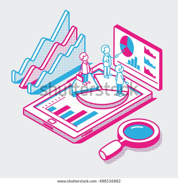 Isometric linear flat people standing on pie graphic on tablet screen vector illustration. Mobile business report, data analysis tool, statistics app 3d isometry concept.