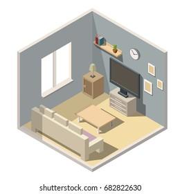 Isometric living room interiors vector 3d set