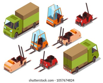 Isometric loader trucks vector illustration isolated icons of warehouse forklift trucks and logistics trailers. Isometric transport collection of industrial cars for cargo loading and transportation