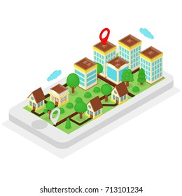 Isometric location, mobile phone with city on it's screen, gps concept