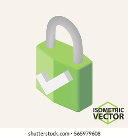 Isometric Lock with Approve Sign \ Vector