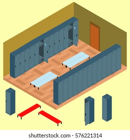 Isometric locker room with a set of objects: a chair, a wardrobe in vector