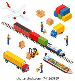 Isometric Logistics composition of different transportation distribution vehicles, delivery elements. Air cargo trucking, rail transportation, maritime shipping.