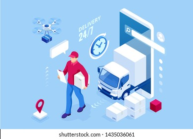 Isometric Logistics and Delivery concept. Delivery home and office. City logistics. Warehouse, truck, forklift, courier, drone and delivery man.
