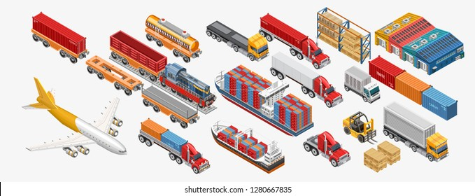 Isometric logistics set of forklifts and freight trucks amidst pallets with goods. Logistics transport isometric style. Different type warehouse freight transport — сontainer carrier, dump truck.