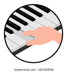 Isometric logo hands pianist. The man pressed the piano key.
